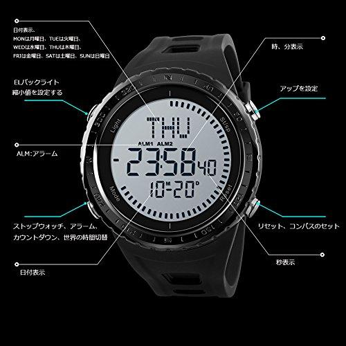 b7a232b7fb メンズ デジタル 腕時計ブラック スポーツ おしゃれ メンズ時計黒 日常生活防水 ストップウォッチスポーツ ギフト