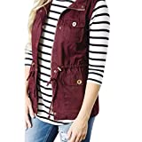 Vest Jacket,Gillberry Women's Sleeveless Jacket Lightweight Stretchy Drawstring Blouses with Zipper