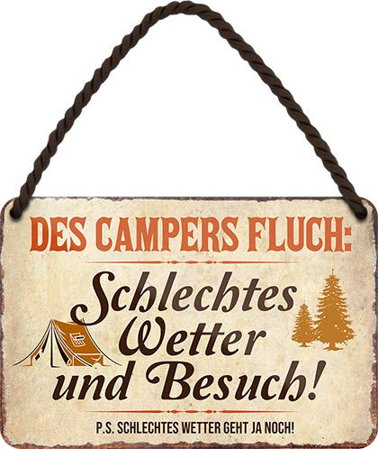 """51ToMf3vOFL schilderkreis24 – Blechschild Lustiger Spruch """"des Campers Fluch"""" Deko Metallschild Geschenkidee Retro Camper Wohnwagen…"""