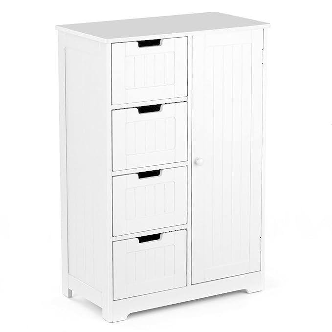 IKAYAA Cómoda Moderna con 4 Cajones y 1 Puerta/Armario de Piso/Mueble para Salón y Habitación y Baño Color Blanco / 56 * 30 * 81 cm