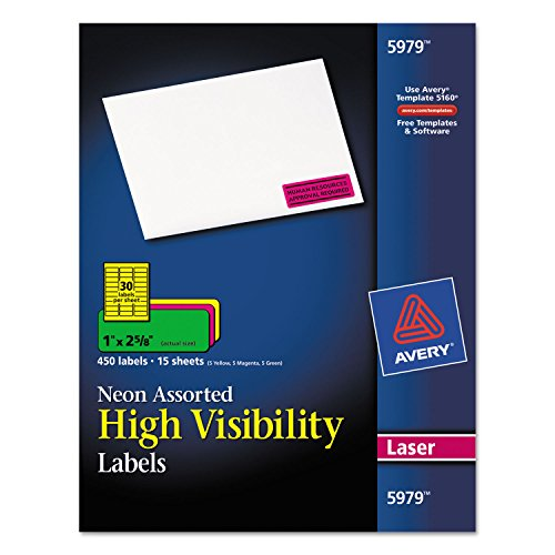 Averyamp;reg; High-Visibility Labels for Laser Printer, 1 x 2-5/8, Assorted Neons, 450/Pack