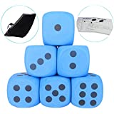 "SPORT BEATS 4"" Yard Foam Dice Pack of 6 with Carry Bag (Blue)"