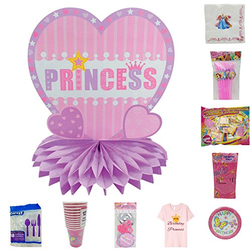 Happy Birthday Princess with Butterflies Pink Party Supplies for the Table and Room - 144 piece Bundle - Decorations, Tableware, Tiaras, Toys, T-shirt for the Birthday Girl and more! (13 items)