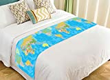 PicaqiuXzzz Custom Educational Bed Runner, Colored World Map with Countries and Cities Name Bed Runners And Scarves Bed Decoration 20x95 inch