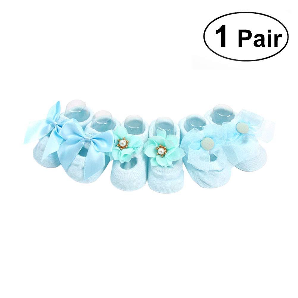 1 Pair Cotton Anti Slip Lace Flower Bow Tie Floor Socks for Girl Toddler