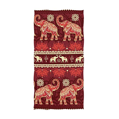 ALAZA African Elephants with Lotus Ultra Soft Hand Towel Wash Cloths for Bath, Hotel, Gym, Spa, Beach and Exercise(16