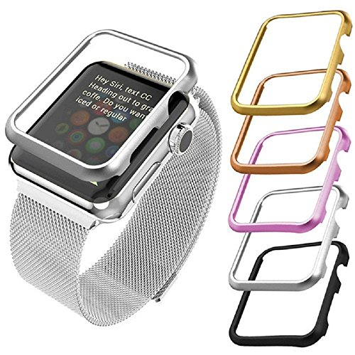 5-Pack Apple Watch Case SIKAI Aluminum Protective Bumper Frame Cover For Apple Watch Series 3, Series 2, Series 1, Sport and Edition Anti-Scratch [only 3g Lightweight] Easy Remove Install (38mm-5Pack) by Sikai