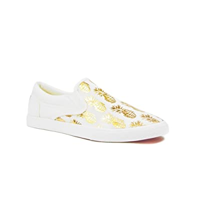 BucketFeet Women's Pineappleade Slip On Sneakers, Beige/Gold, 5 B(M)