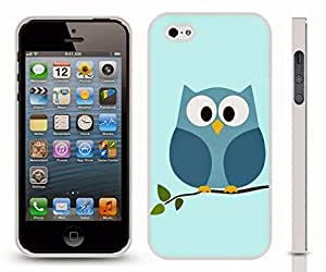 iStar Cases? iPhone 4 Case with Owl on Tree Limb, Blue Background Graphic Design , Snap-on Cover, Hard Carrying Case (White) by ruishername