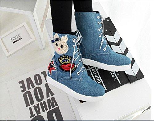 Ei&iLI Femmes d'automne / hiver Fashion bottes toile Casual talon plat noir / bleu / gris , blue , 43
