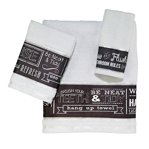 Avanti Linens 036546 Wht Chalk It up 3, 3 Piece Towel Set, W