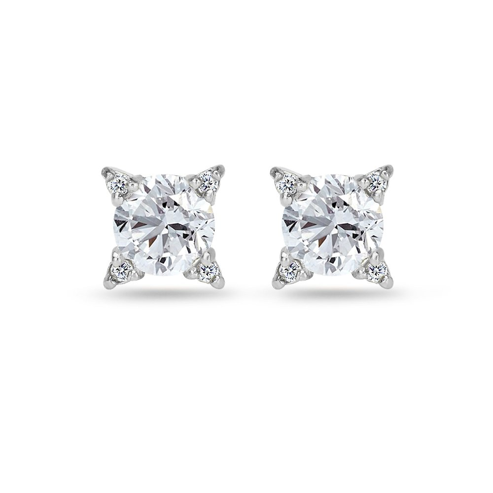 Sterling Silver Created White Sapphire Studded Solitaire Stud Earrings
