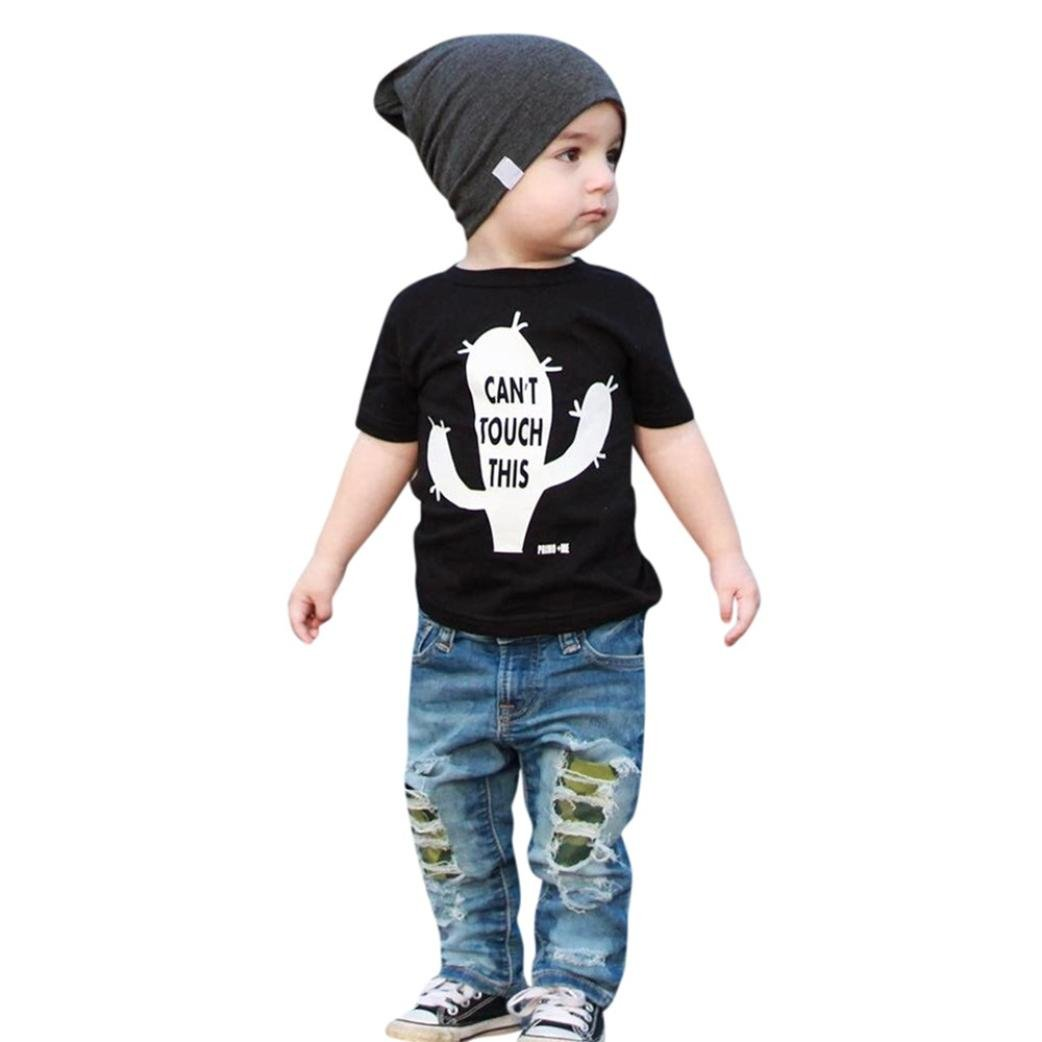 FEITONG Baby Boys Outfits Letter Tops T-Shirt Denim Hole Pants Jeans Sets (2-3T, Black)