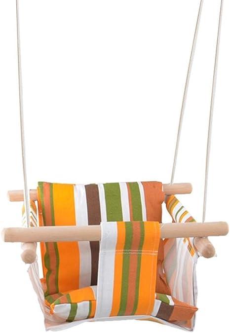 Jardín de infantes Colchoneta de lona para bebé Silla de madera para colgar en el interior Columpio colgante Columpio para silla de balancín para bebé (nota: esta no incluye el cojín. Bolso