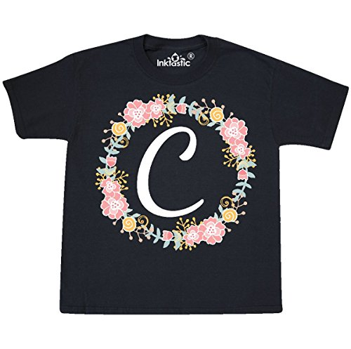 (inktastic - C Monogram Alphabet Youth T-Shirt Youth X-Large (18-20) Black 309b0)