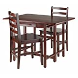 Winsome Wood 94368 Taylor 3 Piece Set Drop Leaf Table with Ladder Back Chair