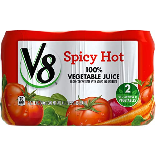 V8 Original Spicy Hot 100% Vegetable Juice, 11.5 oz. Can (Pack of 6)