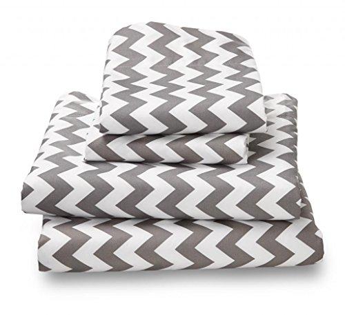 Full Sheet Set Gray Chevron - Double Brushed Ultra Microfiber Luxury Bedding Set By Where the Polka Dots Roam