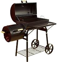 Dakota Smoker El Fuego schwarz groß Räuchergrill Garten ✔ Rollen ✔ Deckel ✔ Ablagefläche ✔ rund ✔ rollbar ✔ stehend grillen ✔ Grillen mit Holzkohle ✔ mit Rädern