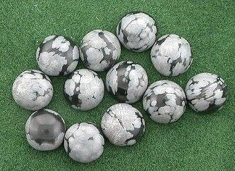 12 - 5mm Round Snowflake Obsidian Cabochon Gem Gemstone