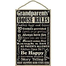 """(SJT28336) Grandparents' House Rules 10"""" x 16"""" primitive wood plaque, sign"""