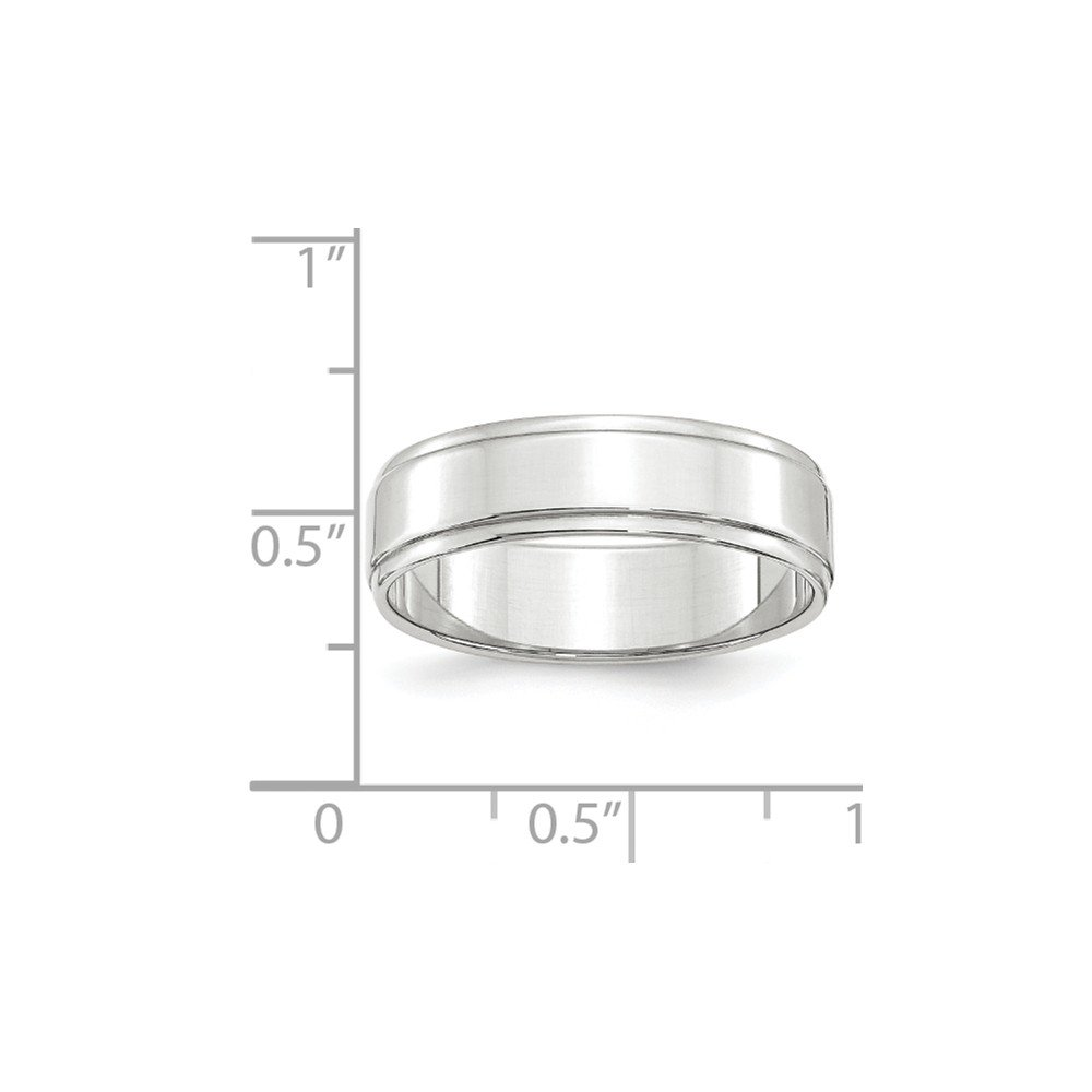 Solid 10k White Gold 6mm Flat with Step Edge Wedding Band