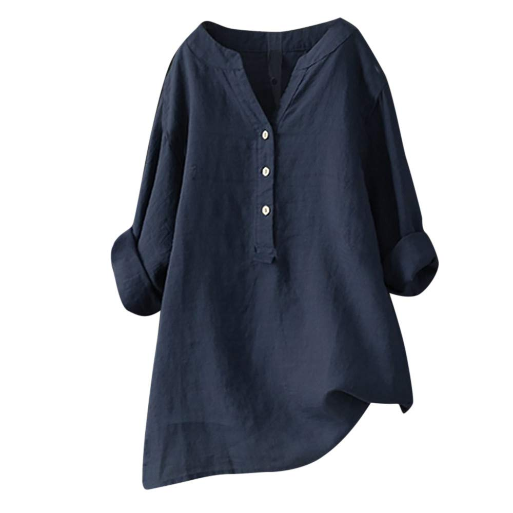 Women's Long Sve V Neck Button Shirt Tops Long Blouse Tee Casual Henley Shirt Loose Swing Tunic T-Shirt Navy by NIKAIRALEY T-Shirt
