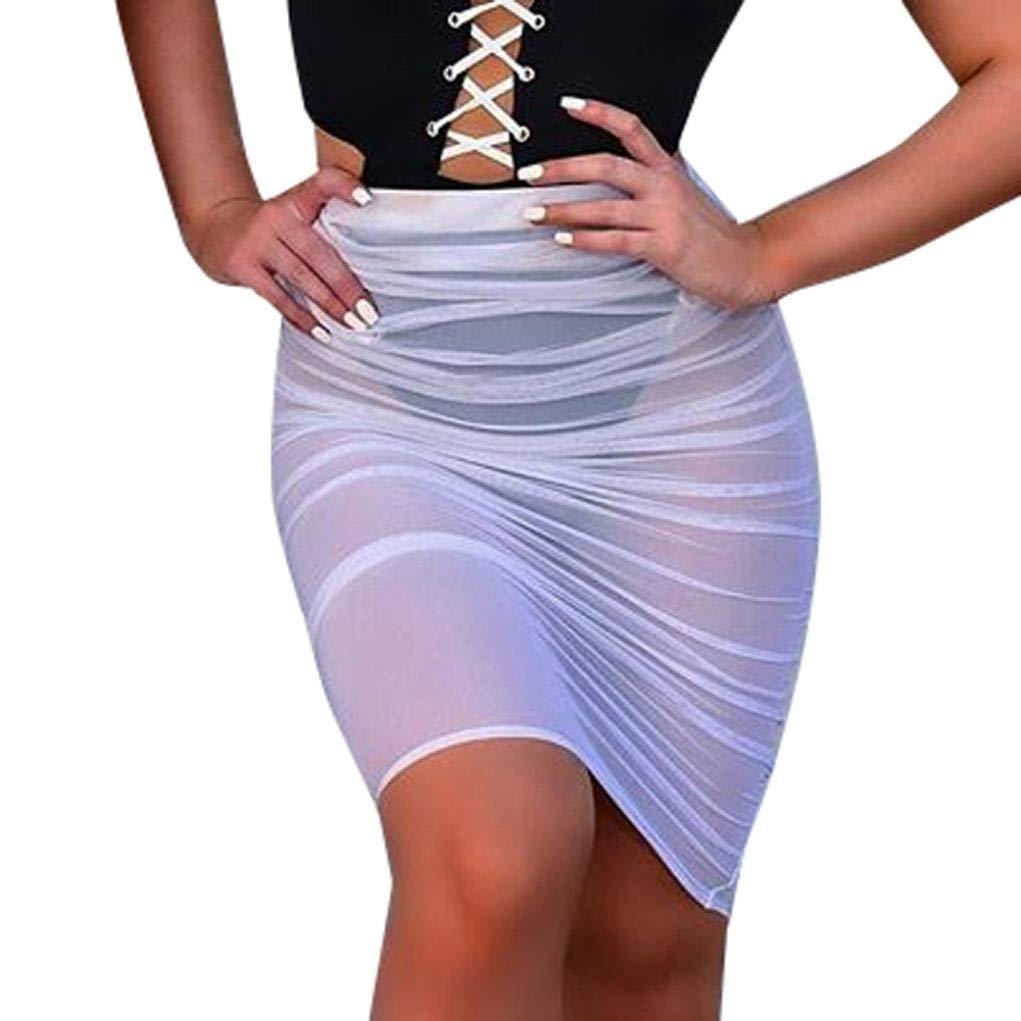 2e5036afee5f8 ZHRUI Liquidación Mujeres Sexy Vestido de Playa Falda Perspectiva de Verano  Malla Playa Falda de natación Apretado Protector Solar Sarong Bikini Cubrir  ...
