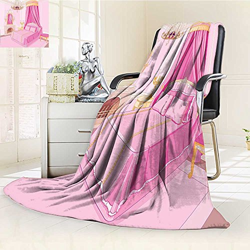 YOYI-HOME Luxury Warm Fuzzy Weighted Bed Duplex Printed Blanket Teen Girls Interior of Magic Princess Bedroom Old Fashioned Ornament Pillow Lamp Mirror Camping Blanket /W59 x H79 ()
