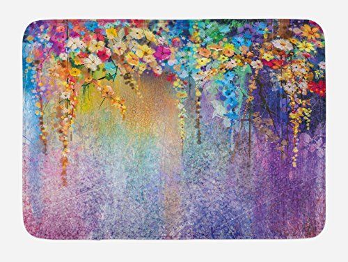 Ambesonne Flower Bath Mat, Abstract Herbs Weeds Alternative Medicine Blossoms Ivy Back Florets Shrubs Design, Plush Bathroom Decor Mat with Non Slip Backing, 29.5 W X 17.5 W Inches, Blue Purple