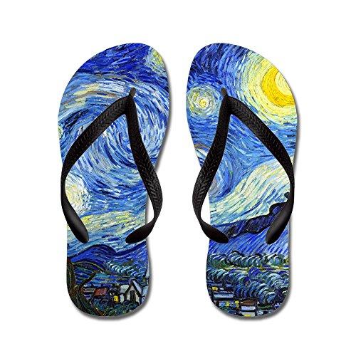 Cafepress Van Gogh - Noche Estrellada - Chanclas, Sandalias De Tanga Divertidas, Sandalias De Playa Negras