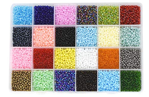 (Mandala Crafts Glass Seed Beads, Small Pony Beads Assorted Kit with Organizer Box for Jewelry Making, Beading, Crafting (Round 3X2mm 8/0, 24 Assorted Multicolor Set))