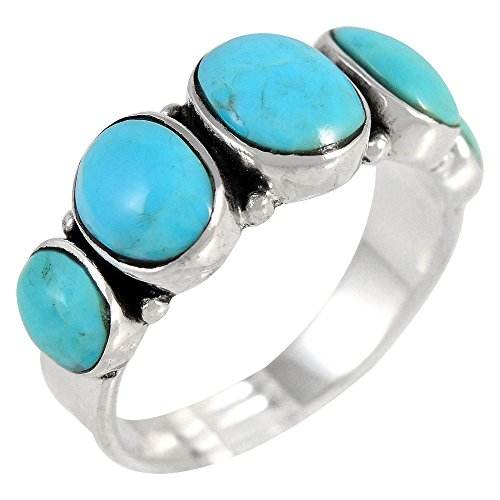 Turquoise Ring Sterling Silver 925 & Genuine Turquoise Statement Ring (Select Color) (Turquoise, 8)
