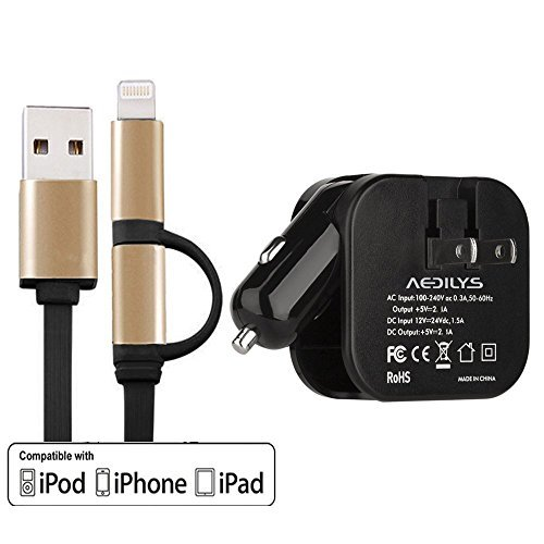 IPhone 6 Cable,AEDILYS Wall Charger, car Charger, Compact 4-in-1 with Dual Smart USB Travel Charger 5V 2.1A Output Ports , charge cable for iPhone, iPad, Tablet, Samsung, HTC