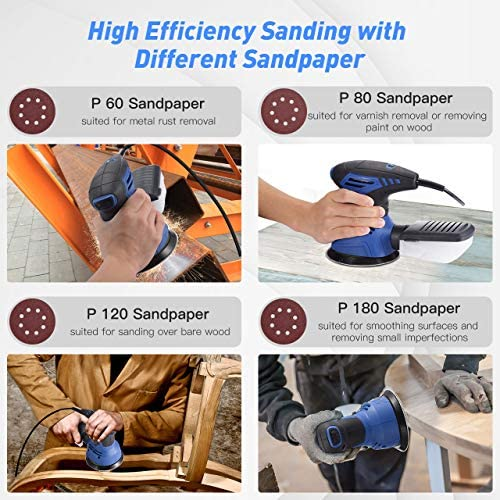Powerful Motor for Woodworking Sponge Pad 360/° Rotating Sanding Pad with 14 Pcs Sandpapers Wool-like Pad Removing Paint etc Dust Collection System 【7 Variable Speed】Holife Random Orbital Sander