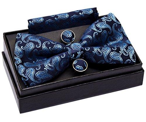 Blue Pattern Tie - Retreez Classic Paisley Pattern Woven Microfiber Pre-tied Bow Tie (Width: 5