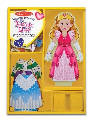 Melissa & Doug Princess Elise - Magnetic Dress Up Wooden Doll & Stand + FREE Scratch Art Mini-Pad Bundle [35538] -