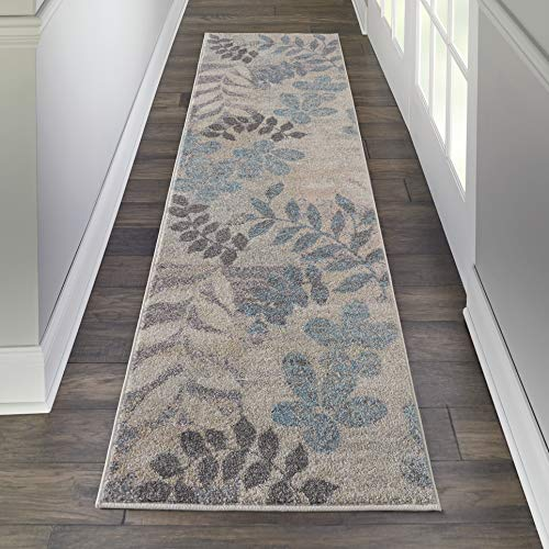 Nourison TRA01 Tranquil Modern Distressed Ivory/Light Blue Area Rug Runner 2'3