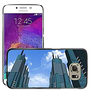 Hot Style Cell Phone PC Hard Case Cover // M00171671 City Building Sky Cloud Tower Blue // Samsung Galaxy S6 (Not Fits S6 EDGE)