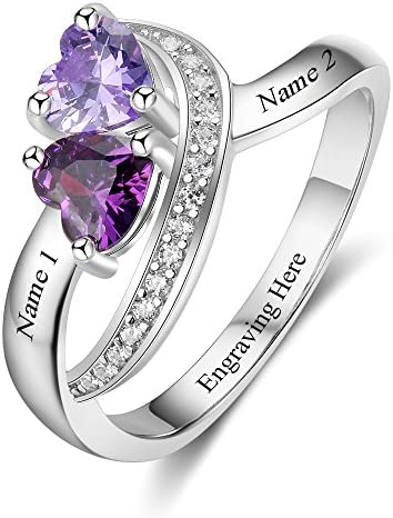 Personalized Name Rings 2 Simulated Birthstones Promise Rings for Her Women Couple Engagement Rings Band