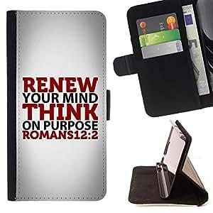 BullDog Case - FOR/Samsung Galaxy S6 EDGE / - / ROMANS 12:2 RENEW YOUR MIND /- Monedero de cuero de la PU Llevar cubierta de la caja con el ID Credit Card Slots Flip funda de cuer