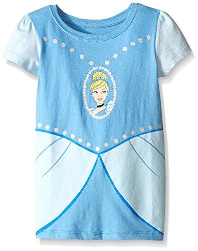 Girl Costume Shirt (Disney Toddler Girls Cinderella Short Sleeve Costume T-Shirt, Light Blue, 5T)