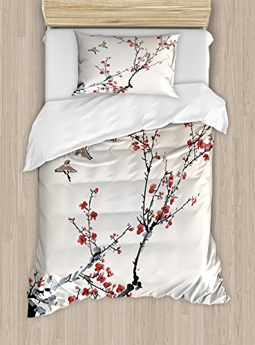 (Ambesonne Nature Duvet Cover Set Twin Size, Cherry Branches Flowers Buds and Birds Asian Style Artwork with Painting Effect, Decorative 2 Piece Bedding Set with 1 Pillow Sham, Black)