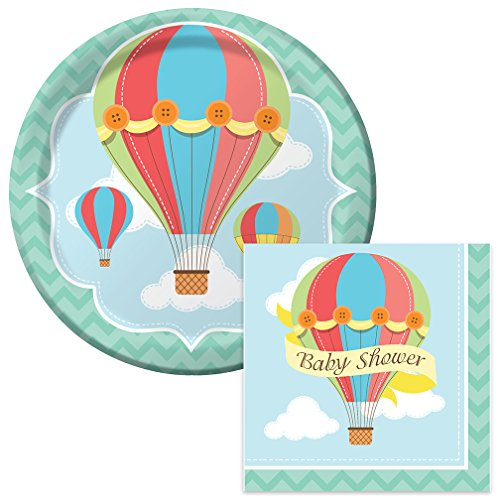 Up Up and Away Baby Shower Lunch Napkins & Plates Party Kit for 8 (Travel Themed Paper Plates)