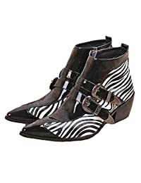 US Size 5-12 New Comfort Black Zebra Leather Mens Dress Zip Ankle Boots Shoes