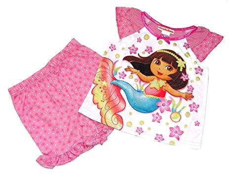 Dora The Explorer Mermaid Starfish, Floral Size 2T Pajama Shorts Set