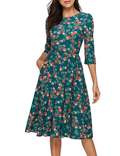 Simple Flavor Women's Floral Vintage Dress Elegant Midi Evening Dress 3/4 Sleeves (XH0360Green, X-Large)