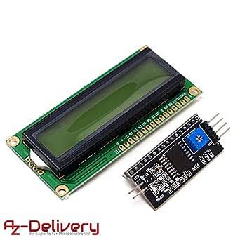 AZDelivery HD44780 1602 LCD Module Display Bundel met I2C interface 2x16 karakters met eBook (met groene achtergrond)