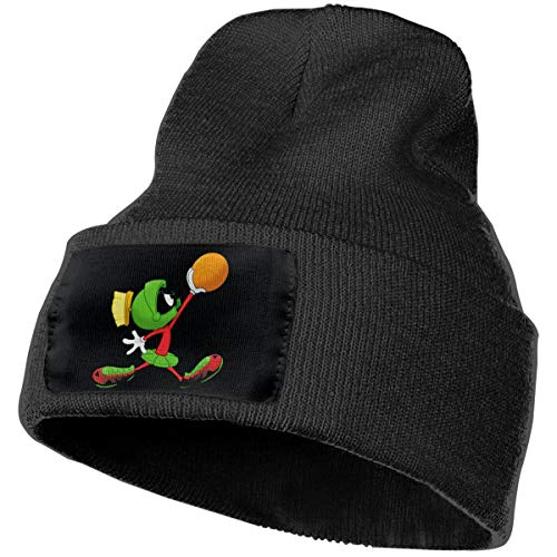 (SmallHan Mens & Womens Marvin The Martian Play Basketball Skull Beanie Hats Winter Knitted Caps Soft Warm Ski Hat Black)