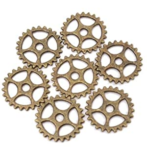 New Metal Crafts 50pcs Bronze Alloy Charms Wheel Gears Antique Vintage Craft Watch Clock Parts for Home Cloth Decoration Pendant